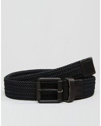 Selected Homme Jack Woven With Leather Trim Belts