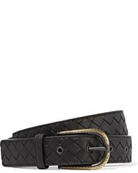 Bottega Veneta Intrecciato Leather Belt Black