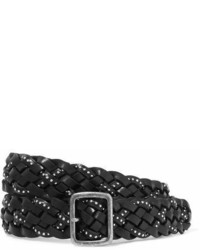 Saint Laurent Studded Woven Leather Belt Black