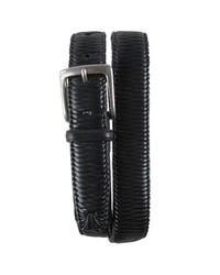 Tommy bahama largo woven leather belt black 32 medium 211265