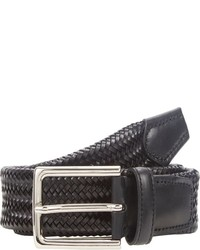 Barneys New York Woven Leather Belt Black Size 32