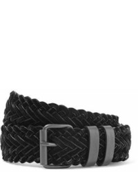 Haider Ackermann Woven Velvet And Leather Belt Black