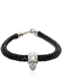 Alexander McQueen Skull Woven Leather Bracelet