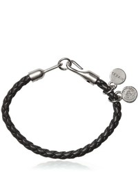 Diesel Woven Leather Bracelet With Logo Charms