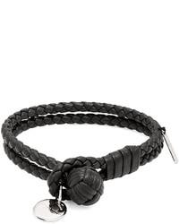 Bottega Veneta Intrecciato Woven Knot Leather Bracelet