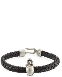 Alexander McQueen Woven Leather Bracelet With Skull Charm