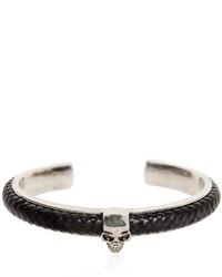 Alexander McQueen Woven Leather Skull Cuff Bracelet