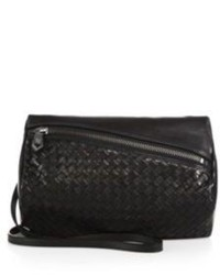 Black Woven Leather Clutch