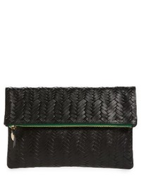 Clare v woven leather clutch black medium 4354325