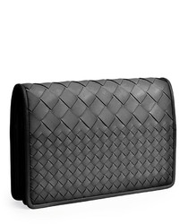 539a0f60ec7f ... Bottega Veneta Intrecciato Medium Woven Clutch Bag Black ...