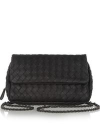 Bottega Veneta Messenger Mini Intrecciato Leather Shoulder Bag Black