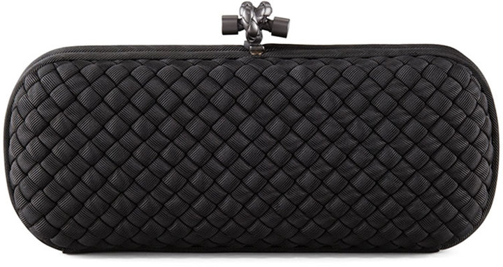 1c6ca9cb5c1c ... Black Woven Leather Clutches Bottega Veneta Woven Faille Large Knot  Clutch Bag ...
