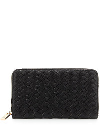 Neiman Marcus Woven Faux Leather Continental Wallet Black