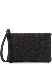 Neiman Marcus Woven Faux Leather Wristlet Bag Black