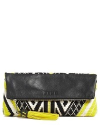 Rebecca Minkoff X Feed Woven Foldover Clutch Black