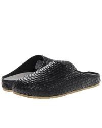 Black Woven Leather Loafers