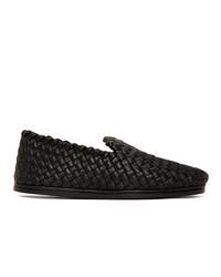 Bottega Veneta Black Intrecciato Tubolare Loafers