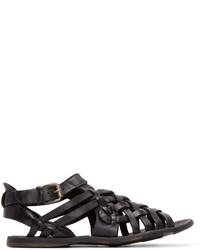 Officine Creative Black Leather Woven Strap Sandals