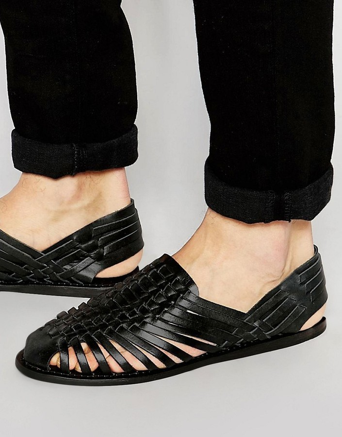 fc3345976d3 $57, Asos Brand Woven Sandals In Black Leather