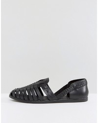 c288f8b8ace Asos Woven Sandals In Black Leather, $39   Asos   Lookastic.com