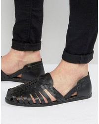 Asos Woven Sandals In Black Leather