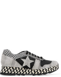 Stella McCartney Macy Faux Suede And Woven Faux Leather Sneakers Black