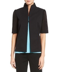 Ming Wang Pointelle Sleeve Woven Jacket