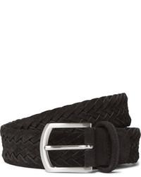 Black Woven Suede Belt