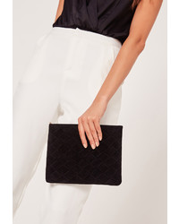 Missguided Woven Detail Clutch Bag Black