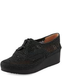 Robert Clergerie Vicolek Woven Raffia Demi Wedge Sneaker Black