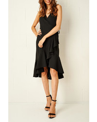Frontrow Raquel Black Wrap Dress