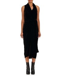 Rick Owens Limo Velvet Wrap Dress