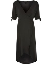 Topshop Tie Sleeve Wrap Midi Dress