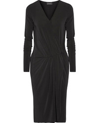 By Malene Birger Willos Wrap Effect Stretch Crepe Dress Black