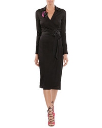 Diane von Furstenberg Wrap Dress With Printed Corsage