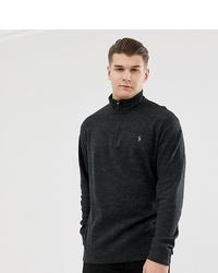 Polo Ralph Lauren Big Tall Half Zip Cotton Knit Jumper Multi Player Logo In Charcoal Marl