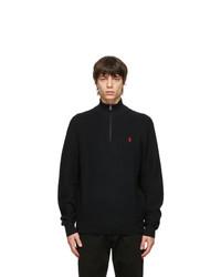 Polo Ralph Lauren Black Cotton Mesh Quarter Zip Sweater