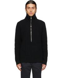 Moncler Black Knit Half Zip Sweater