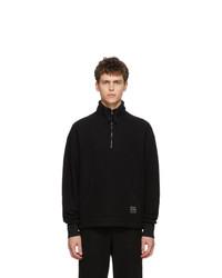 AMI Alexandre Mattiussi Black Wool Half Zip Sweater