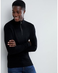 Esprit Cashmere Blend Half Zip Jumper In Black