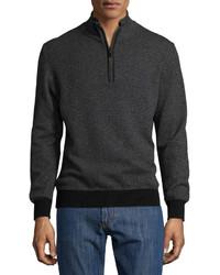 Luciano Barbera Cashmere Half Zip Sweater Black