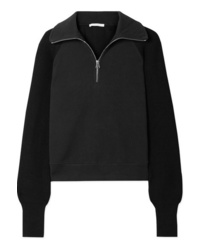 Helmut Lang Cotton Terry And Ribbed Knit Sweatshirt