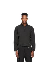 C2h4 Grey Ruin Distressed Zip Up Sweatshirt