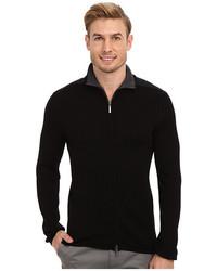 DKNY Jeans Ls Rib Woven Full Zip Mock Neck Sweater