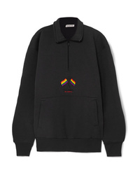 Balenciaga Oversized Embroidered Cotton Blend Jersey Sweatshirt