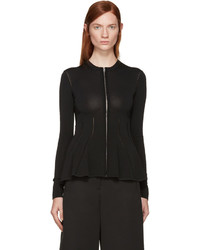 MCQ Alexander Ueen Black Crochet Peplum Zip Up Sweater