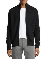 Neiman Marcus Basketweave Cashmere Zip Front Cardigan