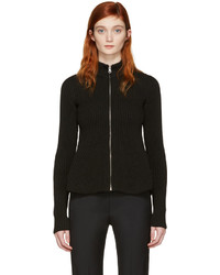 MM6 MAISON MARGIELA Black Peplum Zip Up Sweater