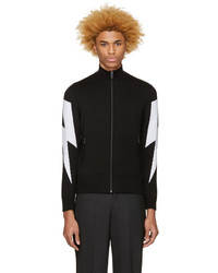 Neil Barrett Black Thunderbolt Zip Up Sweater
