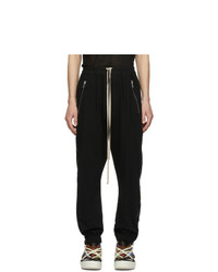 Rick Owens Black Zippered Sweatpants